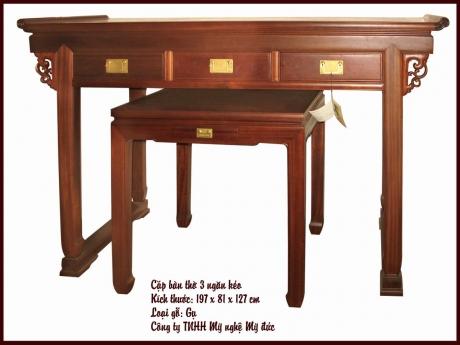 Cặp bàn thờ 3 ngăn kéo