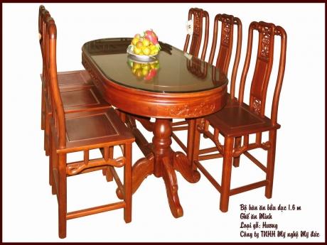Bộ bàn ăn bầu dục - ghế ăn Minh